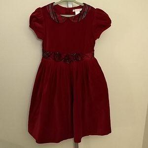 Janie & Jack Red Velvet Tartan Dress - 6 - flaw
